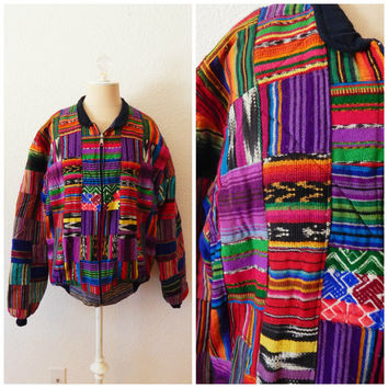 90s Vintage Mexican Blanket Serape Jacket Patchwork Puffer Coat Large XLarge