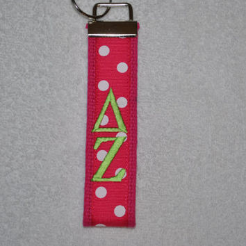Delta Zeta Sorority (OFFICIAL LICENSED PRODUCT) Monogrammed/Embroidery Key Fob Keychain Cotton Webbing Ribbon Wristlet