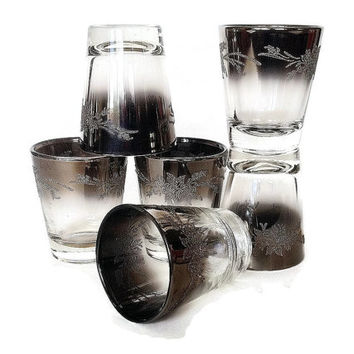 Silver Ombre Shot Glasses, Vintage Mid Century Barware, Roses, 1960s