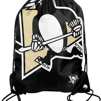 Pittsburgh Penguins Hockey Team Drawstring Bags Men Sports Backpack Digital Printing Pouch Customize Bags 35*45cm