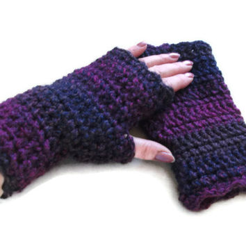 Fingerless Gloves/Mittens in Purple, Plum & Navy. Fashion Accessories, Women, Wristwarmers,Winter Warmers.