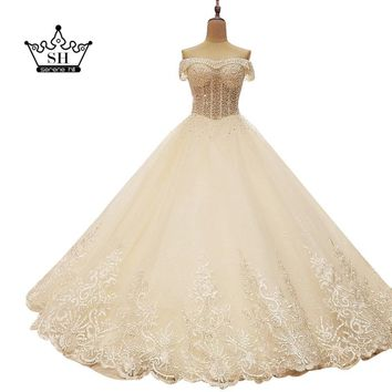 Robe De Mariage High Quality Beading Sequins Ball Gown Wedding Dresses 2017 New Arrival White Bridal Gowns with Bow Floor Length