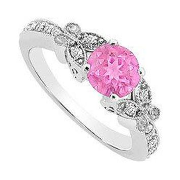 Pink Sapphire and Diamond Engagement Ring : 14K White Gold - 0.66 CT TG