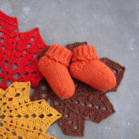 Pumpkin orange baby socks, halloween wool baby booties choose size: newborn, 3-6 month, 6-12 month