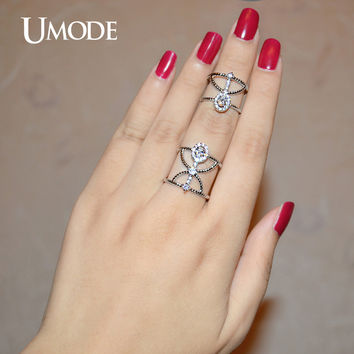 UMODE Resized Twisted Halo CZ Rhodium Color Simulated CZ Stone Two Finger Rings With Chain Jewelry for Women Anillos UR0267