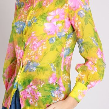 Sheer Neon Floral Blouse / S