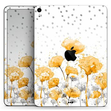 "Karamfila Yellow & Gray Floral V1 - Full Body Skin Decal for the Apple iPad Pro 12.9"", 11"", 10.5"", 9.7"", Air or Mini (All Models Available)"