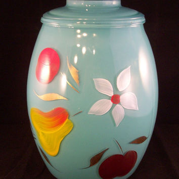 Vintage Cookie Jar Gay Fad Fruit Floral Aqua Blue Turquoise Bartlett Collins