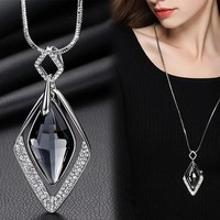Long Necklaces & Pendants for Women Collier  Geometric Statement  Maxi Fashion Crystal Jewelry