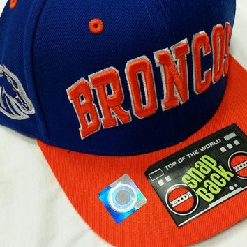DCCKG8Q NCAA Boise State Broncos Top of The World Blue with Orange Brim and Block Letters Snapback Flatbill Hat