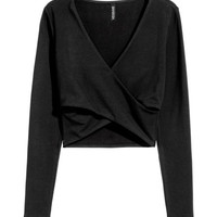 Short Wrap-front Top - from H&M