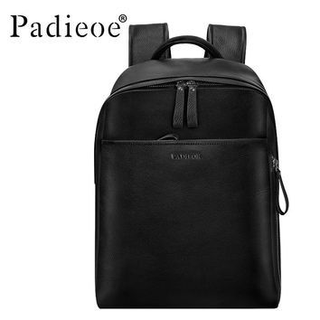 Genuine Leather Backpack For Man Real Cowhide Large Male Backpack Double Zipper Travel Rucksack Classic Unisex Bag