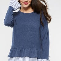 Striped Trim Ruffle Top