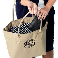 Tan Beige Tote Purse Bag  - Monogrammed Personalized Purse