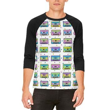 Retro Cassette Tape Pattern Mens Raglan T Shirt