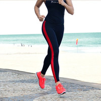 2014 New Women's Stripe Sport Patchwork Gym Yoga Pants High Waist Leggings fitness sports pants = 1933017796