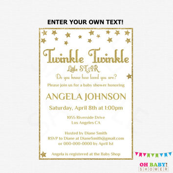 Gold Baby Shower, Twinkle Twinkle Little Star Baby Shower Invitation, Editable PDF, Girl Baby Shower Invites, Printable, Download STGG