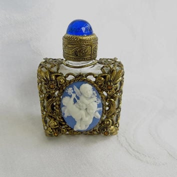Mini Perfume Bottle, Filigree Casing, Cherub Cameo Front, Cobalt Cabochon Lid, Vintage Perfume Holder