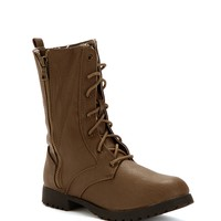 Sale-taupe Tribal Lined Combat Boots