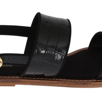 Black Crocodile Skin Leather Sandals
