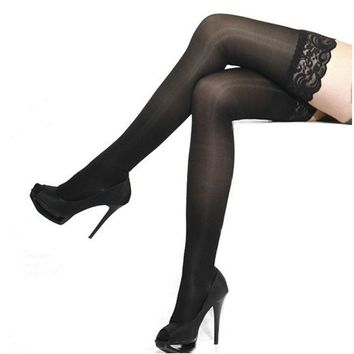 2018 Women Silk Stockings Sexy Lace Top Thigh High Over Knee Socks Pantyhose Black Over The Knee Stockings for Ladies Girls