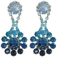 BLUE CRYSTAL OMBRE EARRINGS. - ACCESSORIES