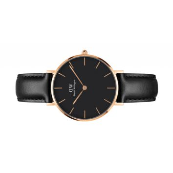 Womens watch - Classic Petite Sheffield Rose Gold 32 mm (black) - Daniel Wellington