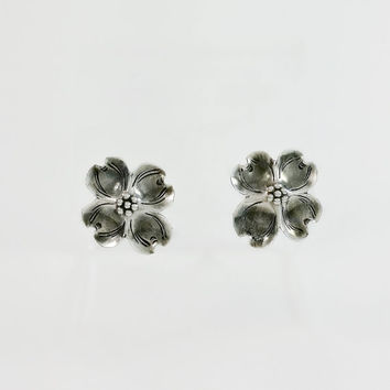 Stuart Nye Flower Earrings - Sterling Flower Screw Back Earrings - Dogwood Flower Earrings - Mid Century Sterling Earrings