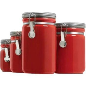 ONETOW Canister Set Red Ceramic 4pc