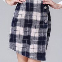 Black & White Plaid High Waist Asymmetric Hem Skirt