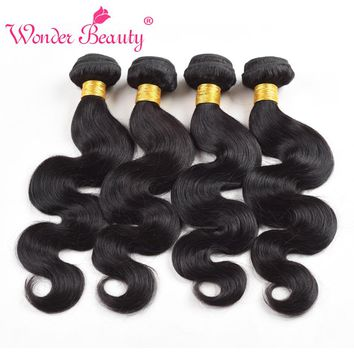 Wonder Beauty Human Hair Extensions Brazilian Body Wave 4 Bundles deal Hair Weave non remy Black Color mixed length 8-30 inches