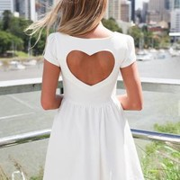 White Heart Cutout Dress with Cap Sleeves & Skater Skirt