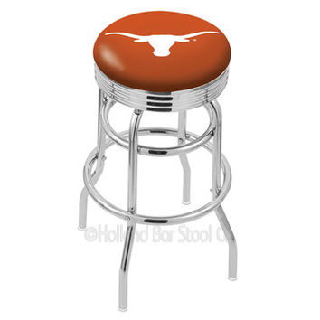 Holland Bar Stool L7C3C - Chrome Double Ring Texas Longhorns Swivel Bar Stool w/ 2.5 Inch Ribbed Accent Ring
