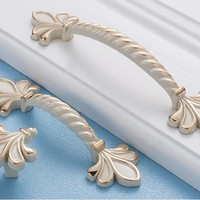 Ivory white Shabby Chic Dresser Drawer Pulls Handles /  Rose Cabinet Pull Handle Knobs Furniture Hardware