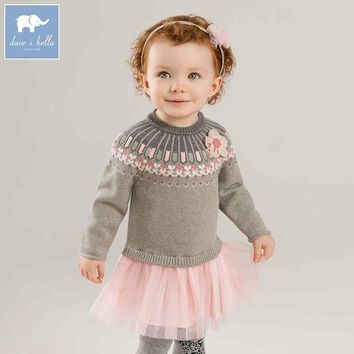 DB8206 dave bella autumn baby Knit Dress children long sleeve dresses kids high quality Knitted dress