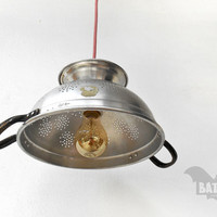 BAT™ ART Pendant Light - Aluminium Vintage colander handles - Lighting Fixture strainer - Chandelier - Color textile wire - E27 lampholder