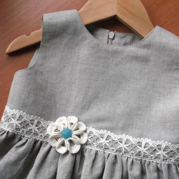 Baby girl 1st birthday dress Lemon pepper grey organic eco linen and cotton blend sleeveless dress with crotchet flowers and bloomers
