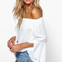 Maya Fluted Frill Sleeve Off The Shoulder Top | Boohoo