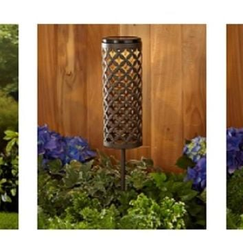 Metal Solar Powered Lantern Stake Cut Out Diamond Scroll Leaf Garden Yard Path