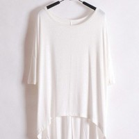 Women Short Sleeve Loose Euro Style White Cotton T-Shirt One Size@WH0101w $11.69 only in eFexcity.com.