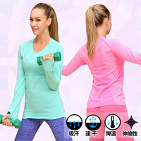 Fitness gym t shirt compression tights women's sport t shirts running long sleeve t-shirts undershirt women clothes tees & tops