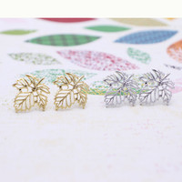 Maple leaf earrings with sterling silver post, silver or gold tone