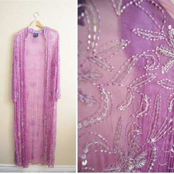 Purple Rain - Vintage 80s Party Beaded Sequin Long Kimono Jacket