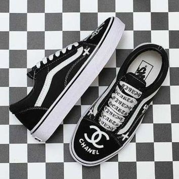 VONEO5 Vans x Chrome Hearts x Chanel Old Skool Canvas Sneakers Sport Shoes