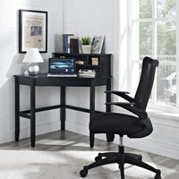 Corner Laptop Writing Desk with Optional Hutch - Black | www.hayneedle.com