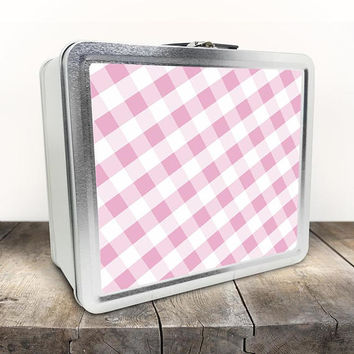 Pink Gingham Lunch Box - Pattern in Pink and White on both sides - Tin School Lunch Art Craft Supplies Box - Chalkboard inside the Lid