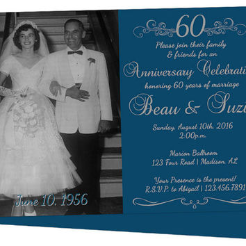 60th Anniversary Invitation - 60th Wedding Anniversary Party Invitations - 60th Wedding Party - Vow Renewal - Diamond Anniversary Invite