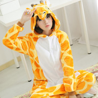 Hot Adult Giraffe Deer Onesuit Pijama Men Women Animal Pyjamas Sets Women Pyjama Pigiama Winter Warm Sleepwear