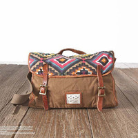 brown Canvas messenger bag ,handbag ,Canvas handbag ,Student Canvas bag , shoulder bag, school bag