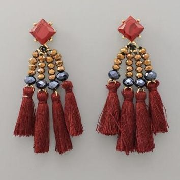 Burgundy Multi-Tassel Earrings